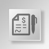 3D financial report icon Business Concept. 3D Symbol Gray Square financial report icon Business Concept Royalty Free Stock Photo