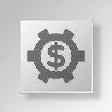 3D Financial Settings Button Icon Concept Stock Photos