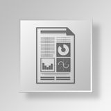 3D  Financial Sheet Button Icon Concept Royalty Free Stock Photography