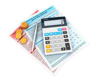 3d financial statement. With a calculator and currency Stock Images