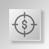 3D  Financial Target Button Icon Concept. 3D Symbol Gray Square Financial Target Button Icon Concept Royalty Free Stock Photography