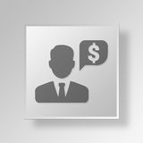 3D finansiell chef Button Icon Concept Royaltyfri Bild