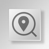 3D find store Button Icon Concept Stock Image