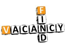 3D Find Vacancy Crossword. On white background Royalty Free Stock Photography