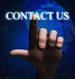 3d finger touching contact us illustration. 3d rendering of human hand finger touching word contact us on a touch screen Stock Photography
