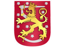 3D Finnish coat of arms. White background Stock Image