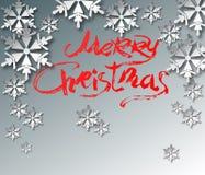 3d fiocchi di neve di carta, iscrizione rossa, letering, spazzola - con Chr Immagine Stock