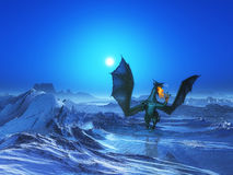 3D fire breathing dragon in icy landscape. 3D render of a fire breathing dragon in icy landscape Stock Photo