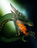 3D fire breathing fantasy dragon. 3D render of a fire breathing fantasy dragon Royalty Free Stock Photos
