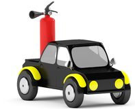 3D fire extinguisher in a black car Royalty Free Stock Photos