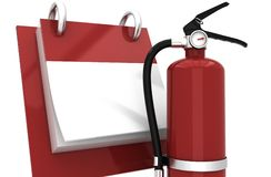 3D Fire extinguisher fire alarm. And calendar Royalty Free Stock Images