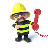 3d Firefighter answers the red phone Stock Photos