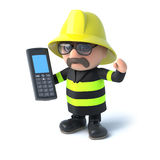 3d Firefighter chats on his cellphone. 3d render of a firefighter holding a cellphone Stock Photo