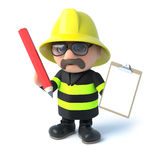 3d Firefighter with clipboard and pencil. 3d render of a firefighter holding a clipboard and pencil Stock Images