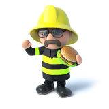 3d Firefighter eats a burger Stock Image