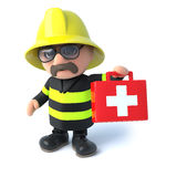 3d Firefighter with first aid kit. 3d render of a fireman holding a first aid kit Royalty Free Stock Image