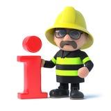 3d Firefighter has info. 3d render of a fireman stood next to an Information symbol Stock Photography