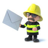 3d Firefighter has mail. 3d render of a firefighter holding an envelope Stock Images