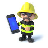 3d Firefighter has a smartphone. 3d render of a fireman with a smartphone Royalty Free Stock Photos
