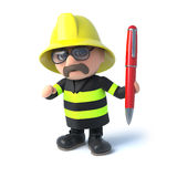 3d Firefighter offers his pen. 3d render of a firefighter holding a red pen Royalty Free Stock Photography