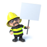 3d Firefighter protests with a placard. 3d render of a firefighter holding a placard Royalty Free Stock Photography