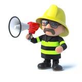3d Firefighter using a megaphone. 3d render of a firefighter using a megaphone Stock Photography