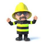 3d Fireman is cheering. 3d render of a fireman cheering with his arms in the air Royalty Free Stock Photos