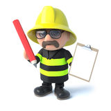 3d Fireman has a clipboard. 3d render of a fireman holding a clipboard and penicl Stock Photos