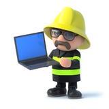 3d Fireman has a laptop. 3d render of a fireman holding a laptop Stock Photo