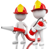 3d Fireman with helment, hose and extinguisher. Royalty Free Stock Images