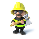 3d Fireman with his axe. 3d render of a firefighter holding an axe Stock Image