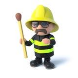 3d Fireman holds a match. 3d render of a firefighter holding an unlit match Stock Image