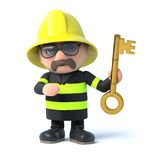 3d Fireman holds up a gold key. 3d render of a firefighter with a golden key Royalty Free Stock Images