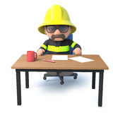 3d Fireman sits at his desk. 3d render of a fireman sitting at his desk Stock Photo