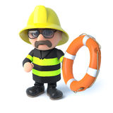 3d Fireman to the rescue. 3d render of a firefighter holding a lifebelt Stock Image