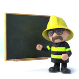 3d Fireman trains at the blackboard. 3d render of a firefighter stood next to a blackboard Royalty Free Stock Photo