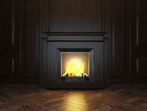 3d fireplace in the room Stock Image