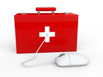 3d first aid box and computer mouse. 3d render of first aid box and computer mouse Stock Images