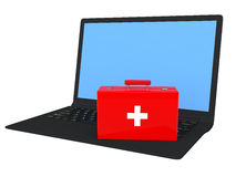 3d first aid box and laptop Royalty Free Stock Images