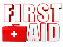 3d first aid box and text. 3d render of first aid box and text Stock Photo