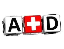 3D First Aid Button Click Here Block Text Royalty Free Stock Photography