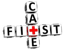 3D First Aid Care Crossword Block Button text Royalty Free Stock Photo