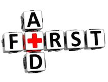 3D First Aid Crossword Block Button text Stock Photography