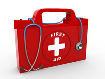 3d first aid kit and stethoscope. 3d illustration of first aid box and stethoscope Stock Photo