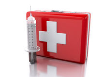 3D first aid kit and syringe. 3D Illustration. First aid kit and syringe. Medicine concept.  white background Royalty Free Stock Images