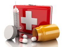 3D first aid kit, syringe and pills Royalty Free Stock Photo