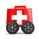 3d First aid kit with wheels. 3d render of a first aid kit with wheels Stock Photos