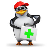3d First aid penguin. 3d render of a penguin holding a first aid kit Stock Image
