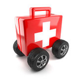 3d First aid on wheels. 3d render of a first aid kit on wheels Stock Photos