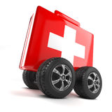3d First aid on wheels. 3d render of a first aid kit on wheels Royalty Free Stock Photos